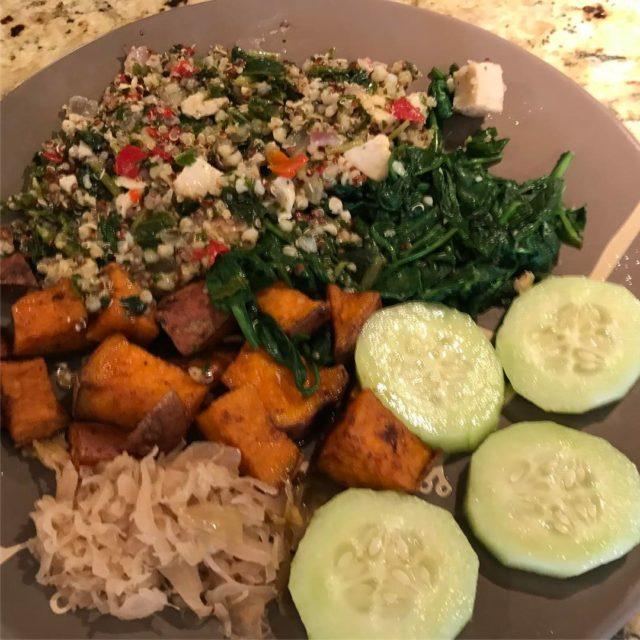 Friday food chicken quinoa kale sweetpotato cucumber sauerkraut spinach eatcleanhellip