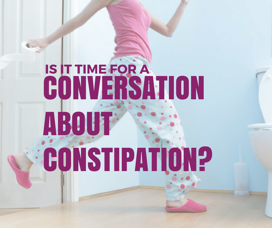 image of lady running into bathroom constipation