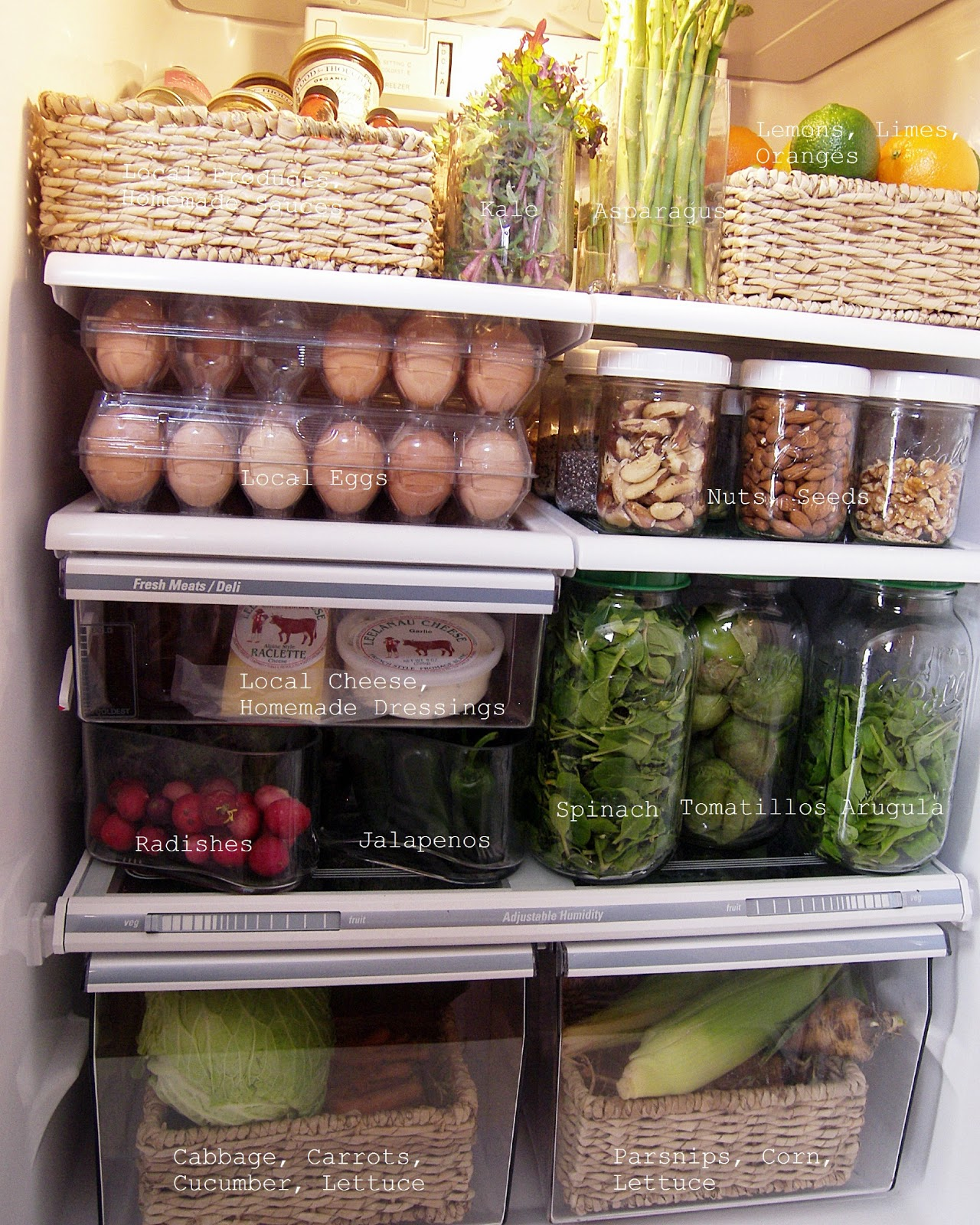 image of open fridge spring kitchen cleanup