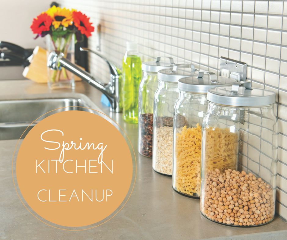 image of kitchen countertop during spring kitchen cleanup