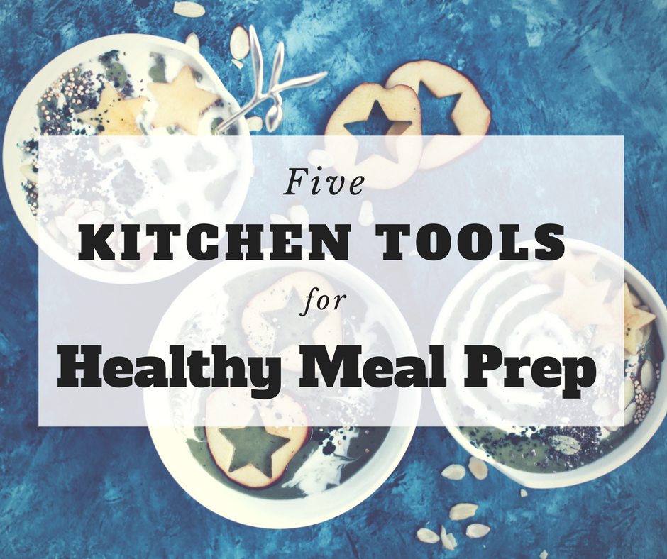 image of food prepared with kitchen tools for healthy meal prep