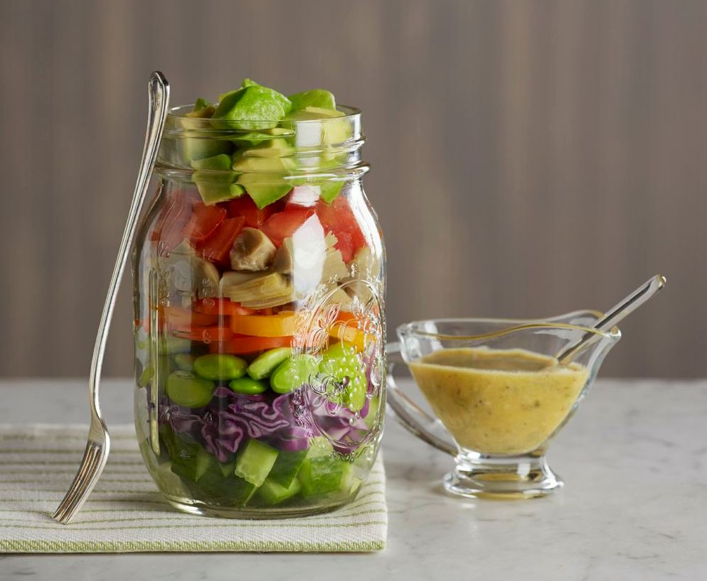 image of mason jar salad with dressing - healthy meal prep